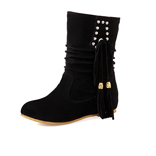 Allhqfashion Women's Low-top Pull-on Frosted Low-Heels Round Closed Toe Boots Black NhUwCBD