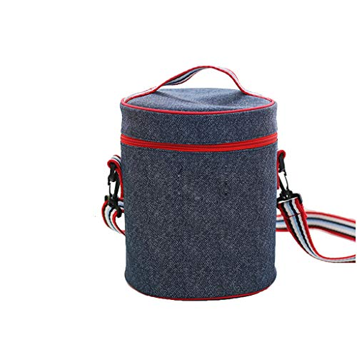 Yilian yecanbeibao Fashion Canvas Thick Cylindrical Shoulder Bag Large Size Lunch Box Bag Folding Lunch Bag Picnic Bag Insulation Package Cooling Package -