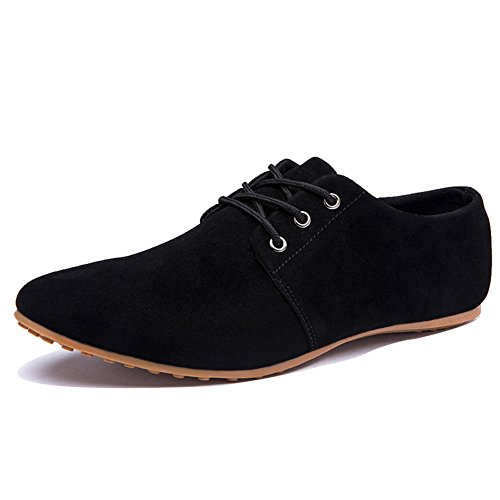 Black Leather Casual Oxfords - Rainlin Men's Casual Suede Leather Lace up Oxford Shoes Walking Flats Black US 10.5