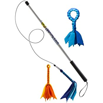 Squishy Face Studio Flirt Pole V2 Dog Exercise Toy Bundle with 2 Fleece Lures and Fleece Tug, 36-Inch
