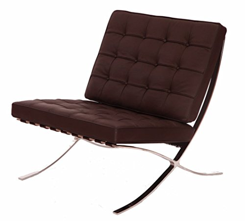 eMod – Mies Barcelona Chair Reproduction Replica Style Italian Leather Brown