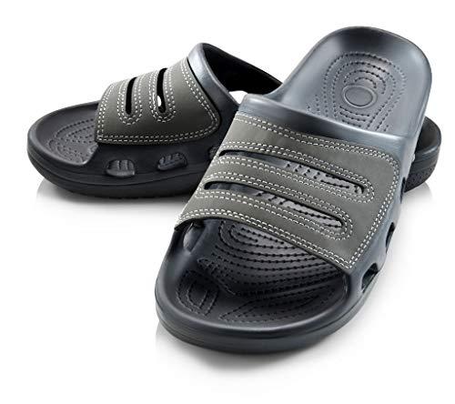 Roxoni Slide Sandals for Men   Open Toe Slip-On   Waterproof Rubber for Beach, Pool, Gym, Travel Wear Gray from Roxoni