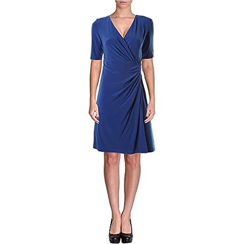 Lauren Ralph Lauren Womens Petites Matte Jersey Wear to Work Dress Blue 8P - Matte Jersey Surplice