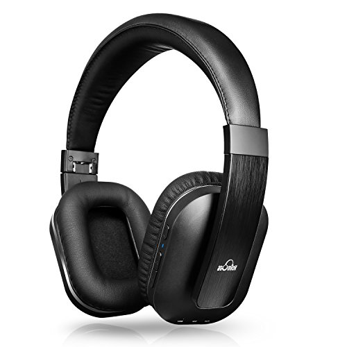41WEp4awTGL - iVid Active Noise Cancelling Headphones, iDeaUSA Bluetooth Headphones with Microphone apt-X HiFi Stereo Sound Headphones for TV, Airplane, 25 Hours Playback - Black