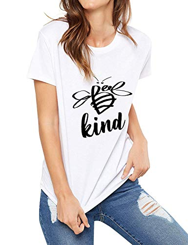 Be Kind Tshirt Women Short Sleeve T-Shirt Cute Bee Graphic Tee Casual Tops (S, White)