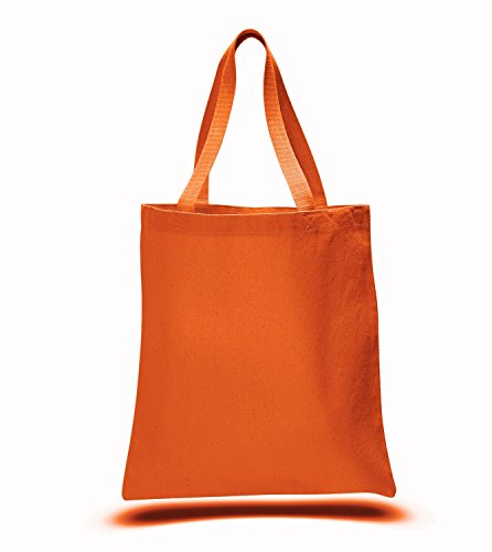 Promotional Priced Heavy Cotton Canvas Shopping Blank Tote Bag Art Craft (Orange) -