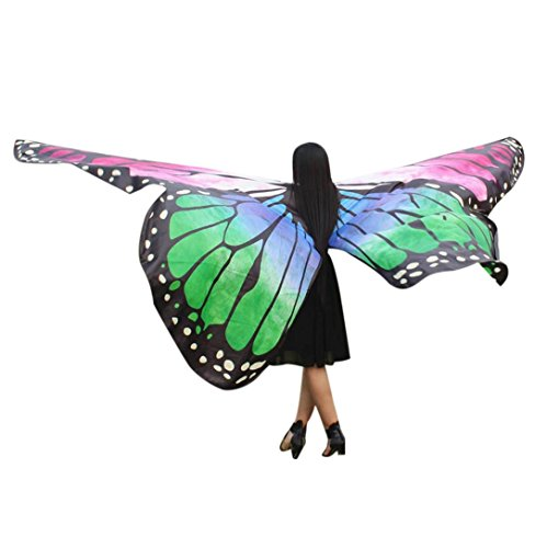 VESNIBA Egypt Belly Wings Dancing Costume Butterfly Wings Dance Accessories No Sticks (Green) (Cane Green Dance)