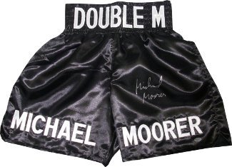 Athlon CTBL-013964 Michael Moorer Signed Black Satin Boxing Trunks - Double M-Heavyweight Champion by Athlon