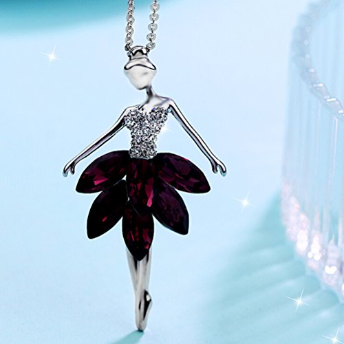 Ballerina Necklace Crystal Ballet Dancing Ballerina Dancer Ballet Pendant Necklace Charm (Purple) ()