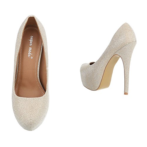 8518ca78a0de3 Damen Schuhe Pumps High Heels Plateau Gold - hm-plastic-engineering.de