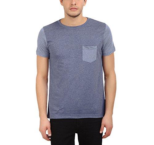 AMERICAN CREW Men's Round Neck Half Sleeve Grey Blue Melange T-Shirt - M (ACRN201-M)