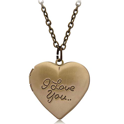 - Photo Locket Necklace That Holds 2 Pictures Vintage I Love You Heart Pendant for Girls Bronze