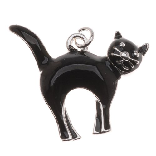Silver Plated With Enamel Halloween Black Cat Charm Facing Right (Black Enameled Cat)