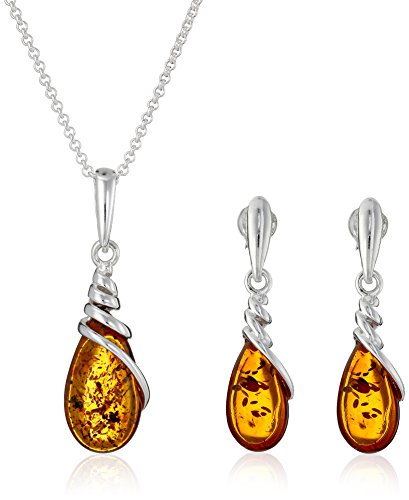 Sterling Silver Amber Marquise Dangle Earrings and Chain Pendant Necklace Jewelry Set, 18