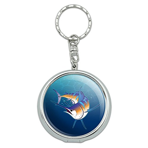 GRAPHICS & MORE Blue Marlin Swimming in Ocean Portable Travel Size Pocket Purse Ashtray Keychain with Cigarette Holder
