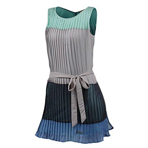 Khujo - Vestido de sin mangas con cuello redondo para mujer gris claro