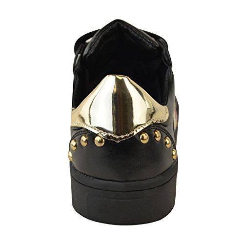 plates cuir pour style sport sneakers femme Faux Baskets noir skate rouge foncé f8dqnx