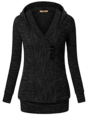 Miusey Womens V Neck Long Sleeve Pullover Hoodies Front Button Sweatshirts