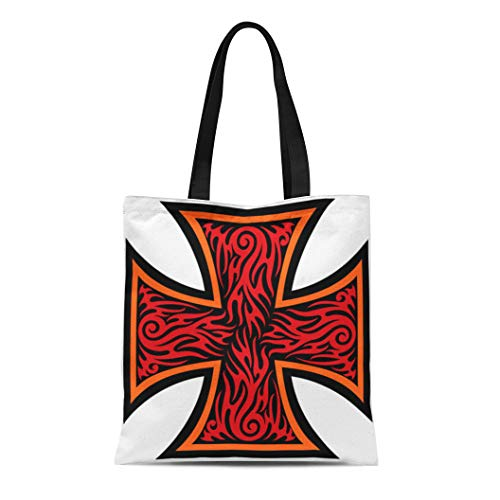 Semtomn Canvas Tote Bag Maltese Iron Cross in Tribal Tattoo Celtic Catholic Christian Durable Reusable Shopping Shoulder Grocery Bag