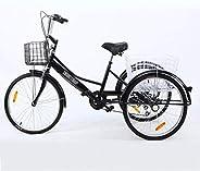 Adult Tricycle 24inch 7 Speed Three Wheel Trike Bike Cruiser Adult Trikes Low Step-Through W/Large Size Basket