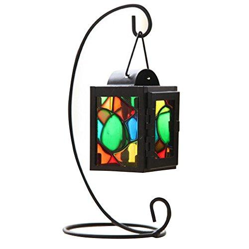 lightclub Iron Craft Colorful Glass Hanging Candlestick Candle Holder Light Lantern Stand Random Color