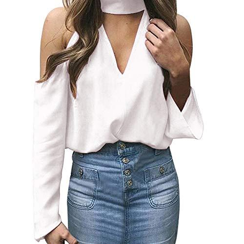 Manches Col Longues en Chemisier Xinantime Manches et Encolure pour S Shirt Longues Dgage V Blanc XL T Mode Femme Manches Longues Femmes Ynwvn7Cx