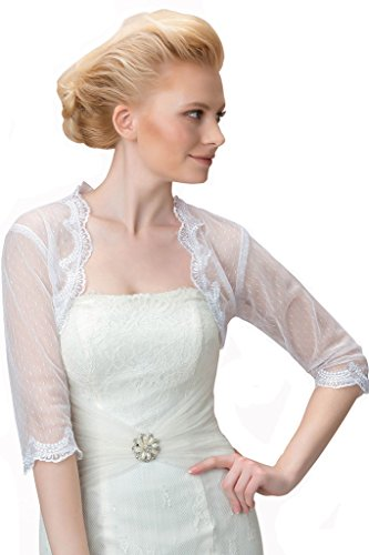 Sisjuly Women's Graceful 3/4 Sleeves Lace Appliques Wedding Jacket 14 Ivory