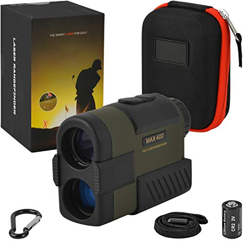 Range Finder Golf | Hunting | Rifle | Bow | Outdoors | Laser Golf RANGEFINDER Slope | Distance | Scan Modes | Target Lock | 6X Magnification | 400+ Yard | Waterproof | Buddy | Free Battery (Distance Measuring Device Golf)