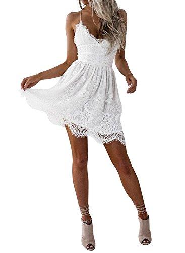 Azbro Mujer Vestido de Encaje Cuello V con Correa Fina Blanco
