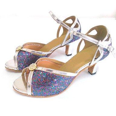 XIAMUO Angepasste Frauen Latein Sandalen angepasste Heel Tanzschuhe mit Strass Schnalle, Multi Color, Us3.5/EU33/UK1.5/CN32