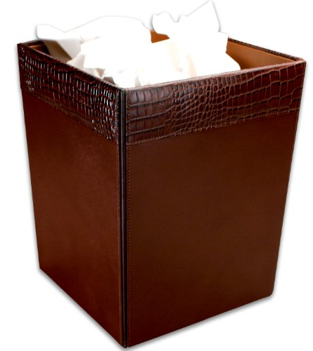 Dacasso Brown Crocodile Embossed Leather Waste Basket