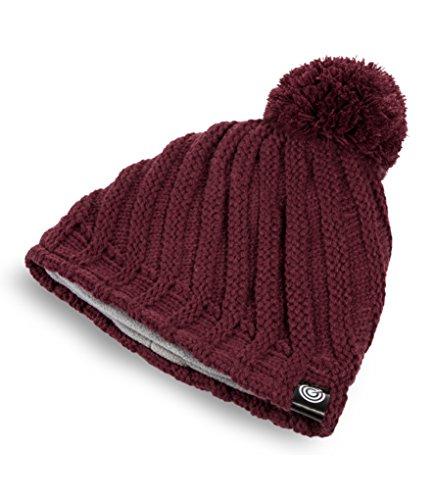 Evony Womens Ribbed Pom Beanie Hat with Warm Fleece Lining - Burgundy - One Size