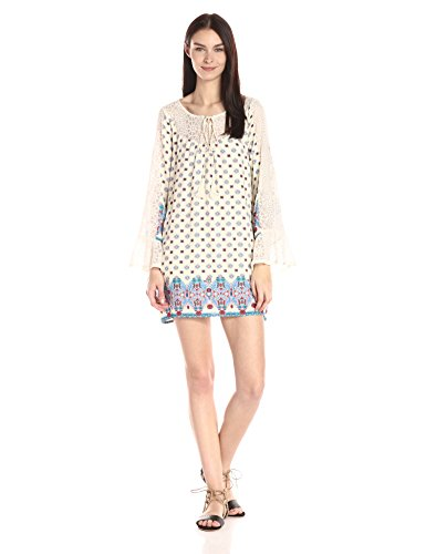 Blu Pepper Women's Boho Print Shift Dress, Ivory, Large