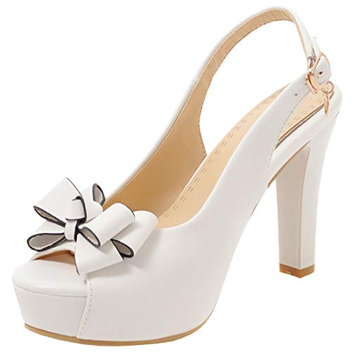 - Artfaerie Womens Peep Toe Block Heel Slingback Pumps with Bows High Heel Platform Lolita Rockabilly Court Shoes (US 7.5, White)