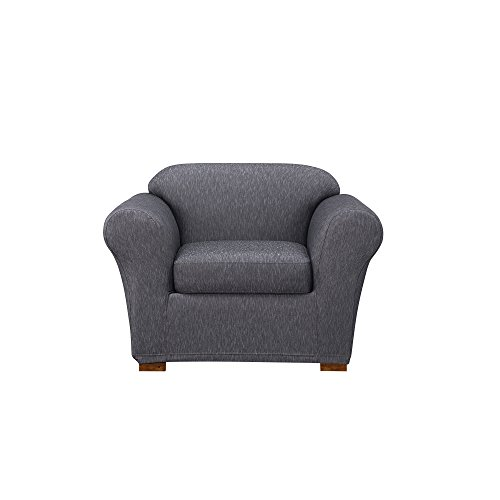 Sure Fit Stretch Denim One Piece Slipcover, Chair, Dark ()