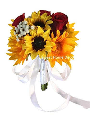 Sweet Home Deco Silk Sunflower Rose Babysbreath Wedding Bouquet Bridal Bouquet Bridesmaid Bouquet Boutonnere in Yellow/Red (Yellow/Red-8''W ()