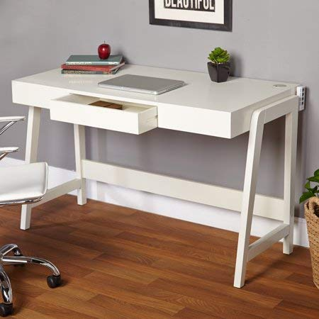 - Simple Living Modernist Rectangular Desk with Tech Integrated USB Port and Grommet, 30-Inches by 49-Inches, White (1948267)