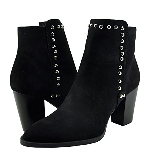 18 Women's Suede Black Qupid Bootie Tiber Almond Studded Toe CqSHRU
