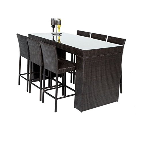 TK Classics NAPA-BARTABLE-WITHBACK-6 7 Piece Napa Bar Table Set with Barstools Outdoor Wicker Patio Furniture (Patio Furniture Napa)