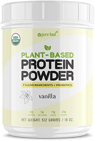 Pure Food: Plant Based Protein Powder with Probiotics | Organic, All Natural, Vegan Whole Food Ingredients with No Additives | Gluten, Dairy, Soy Free, Keto Friendly | Vanilla Bean, 512 Gram Tub