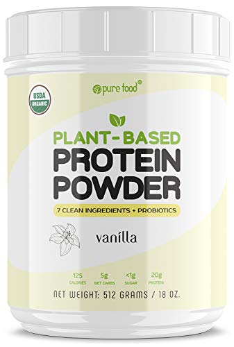 (Pure Food: Plant Based Protein Powder with Probiotics | Organic, All Natural, Vegan Whole Food Ingredients with No Additives | Gluten, Dairy, Soy Free, Keto Friendly | Vanilla Bean, 512 Gram Tub)
