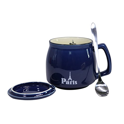 Paris Teacup - Ceramic Coffee Mug Milk Tea Cup with Lid and Stainless Spoon, Small Mouth 12oz Gift for Women and Men, Blue Mugs with Paris