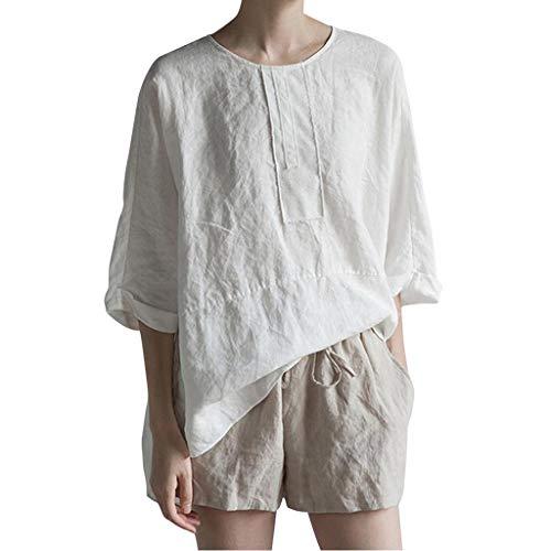 TIANMI Women Casual 3/4 Sleeve O Neck Cotton Linen Plus Size Top Shirt Blouse White