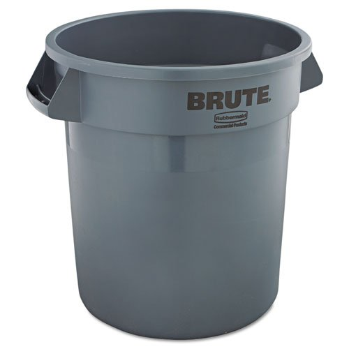 Rubbermaid Commercial Brute Refuse Container, Round, Plastic, 10 gal, Gray - one waste receptacle.