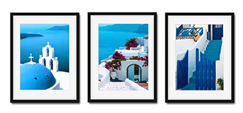 3 Pieces Modern Blue and White Mediterranean Wall Art Greece Santorini Canvas Print Framed Wall Decoration Black Frame