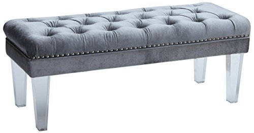 Wholesale Interiors Rectangular Ottoman - Baxton Studio Edna Modern and Contemporary Rectangular Microsuede Fabric Upholstered Luxe Tufted Ottoman Bench with Acrylic Legs, Grey