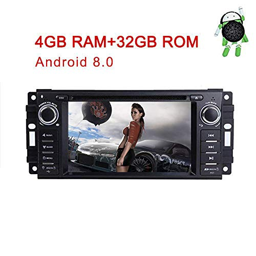 MCWAUTO for Dodge Ram Challenger Jeep Wrangler JK 6.2 Inch Android 8.0 Multi Touch Screen Car Stereo Radio DVD Player GPS Canbus Screen Mirroring Function OBD2 Octa-Core 64Bit 4G RAM 32GB ROM