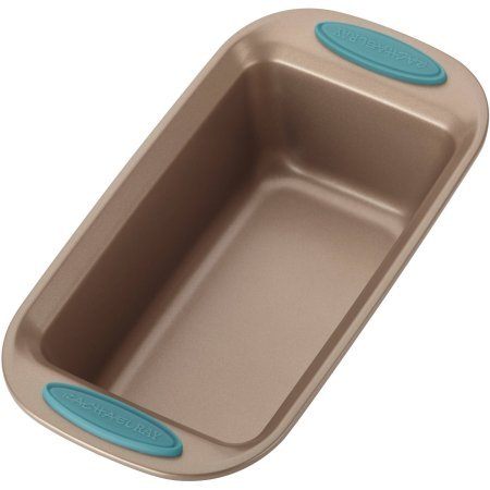 """Rachael Ray Cucina Nonstick Bakeware Bread/Meat Loaf Pan, 9"""" x 5"""", Latte Brown, Agave Blue Handle Grips"""