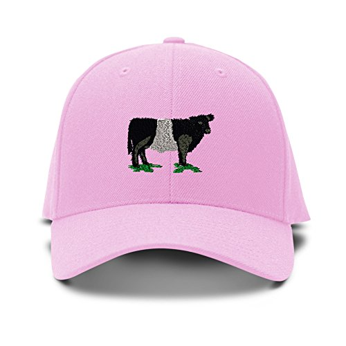 - Speedy Pros Belted Galloway Cow Embroidery Adjustable Structured Baseball Hat Soft Pink