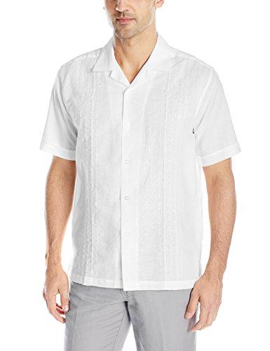 (Cubavera Men's Short Sleeve Embroidery Panel Woven Shirt with Camp Collar, Bright White, Medium)